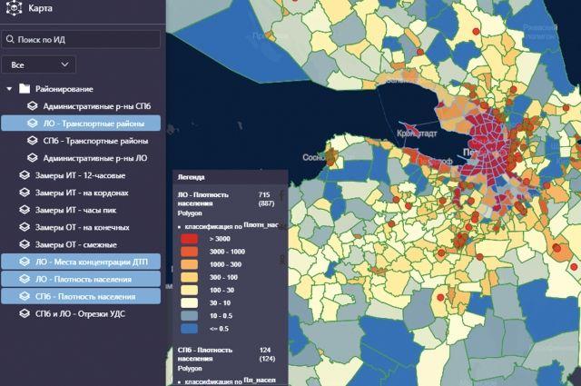 Пока доступно 13 слоёв данных: от административно-территориального деления и показателей плотности населения до загруженности улично-дорожной сети.