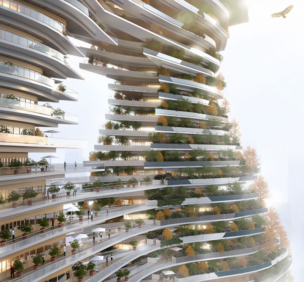 На фасаде башни появятся зеленые насаждения общей площадью 24500 кв м, внутри будут посажены 1600 деревьев.