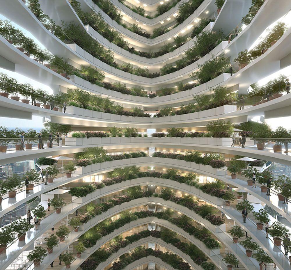 По словам представителя архитектурного бюро, извилистая форма призвана символизировать отношения человека и природы, а также и служить напоминанием о том, что мы должны сохранять окружающую среду, чтобы жить в симбиозе с планетой.