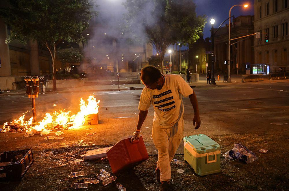 Поджоги во время протестов.