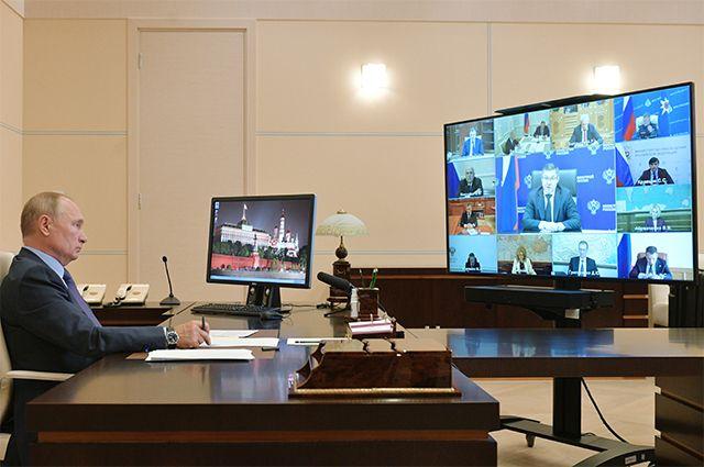 29 сентября 2020 г. Президент РФ Владимир Путин проводит в режиме видеоконференции совещание с членами правительства РФ.