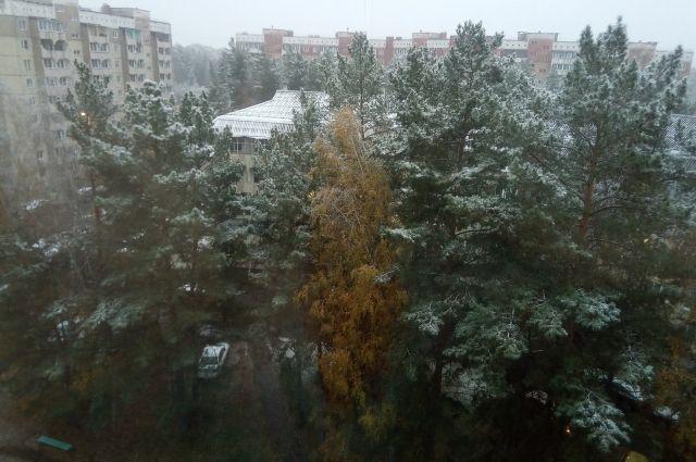 Снег лежит на траве, машинах, деревьях.