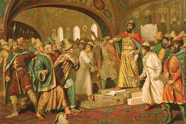 Иван III демонстративно разрывает грамоту хана Ахмата.