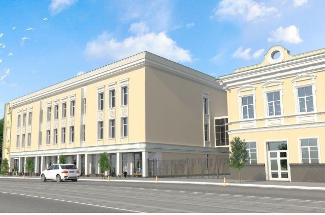 Здание будет состоять из двух блоков.