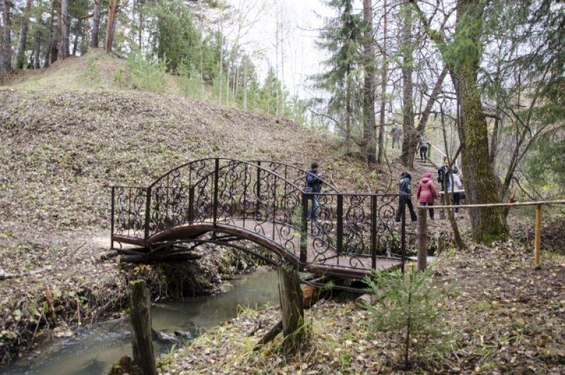 Мостик через речку Абросимовку. Здесь когда-то была мельница. Торчащие столбы - листеничные, сохранились с той поры. Интересно, что вкапывали их вверх тормашками.