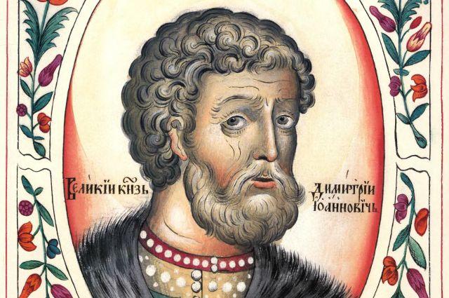 Портрет князя из«Царского титулярника»– рукописи, созданной через три века после его правления, в1672 г. Так что внешнее сходство соригиналом весьма условное.