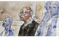 Рисунок Жоэля Ле Скуарнека в суде.