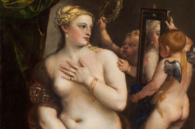 Тициан, «Венера перед зеркалом». Находится в Национальной галерее искусства, Вашингтон.