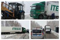 На тюменской трассе сотрудники ГИБДД помогли автомобилистам в непогоду