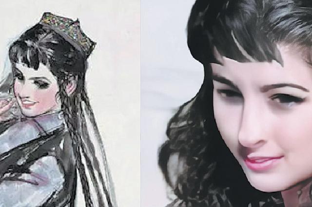 Обработанный Ху Вэньгу портрет танцовщицы кисти художника Хуан Чжоу.