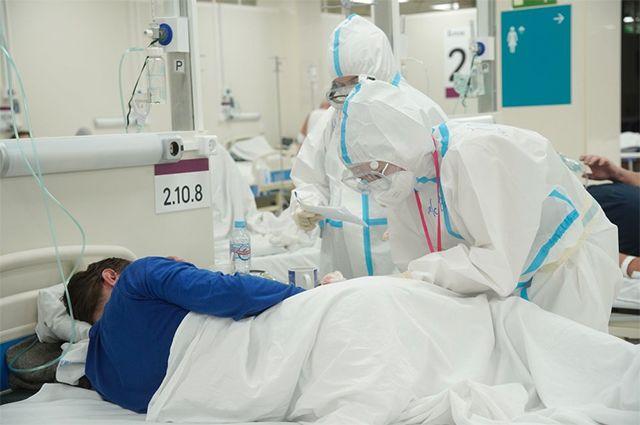 Временный госпиталь для больных COVID-19 в автомобильном торговом центре (АТЦ) «Москва».