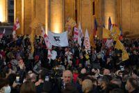 Митинг сторонников оппозиции после парламентских выборов в Тбилиси.