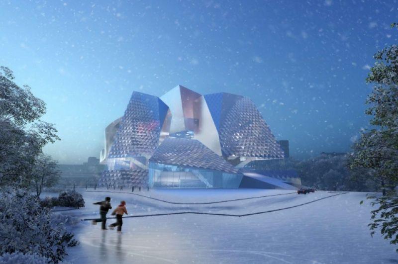 По задумке архитекторов, музейно-театральный комплекс - это открытая и прозрачная структура. Это общедоступная скульптура для гостей и жителей Кемерово. Вид на главный вход и площадь