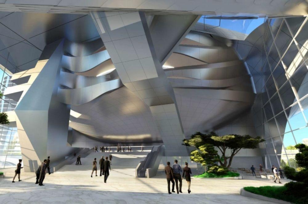 Круглосуточное фойе, вид изнутри. Время на творчество ещё есть: крайний срок завершения строительства – 2023 год.