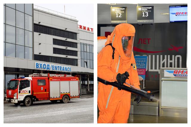 В Тюмени сотрудники МЧС вновь провели дезинфекцию аэропорта Рощино