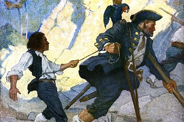 Джим Хокинс и Джон Сильвер. Иллюстрация к американскому изданию 1911 года, художник Ньюэлл Конверс Уайет.