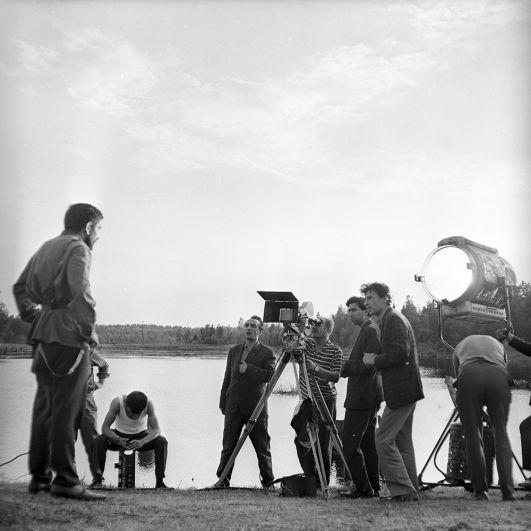 Рабочий момент съемок фильма «Четыре страницы» киностудии «Армен-фильм». Рубен - Армен Джигарханян. 1967 год.