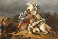 Спасение генерал-аншефа А. В. Суворова гренадером Степаном Новиковым в сражении при Кинбурне 1 октября 1787 года.