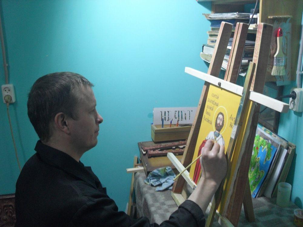 За работой Евгений Лузин, занявший третье место.