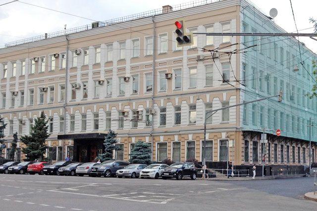 Здание Федерального агентства по печати и массовым коммуникациям на Страстном бульваре в Москве.
