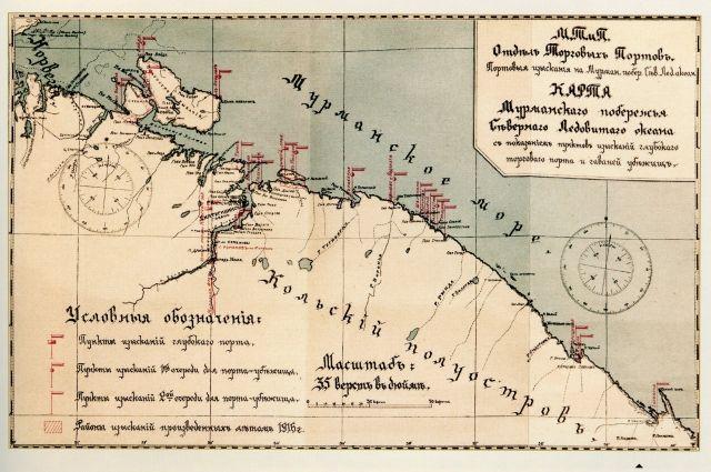 Карта Мурманского побережья с указанием пунктов изыскания глубоководного порта и гаваней-убежищ.