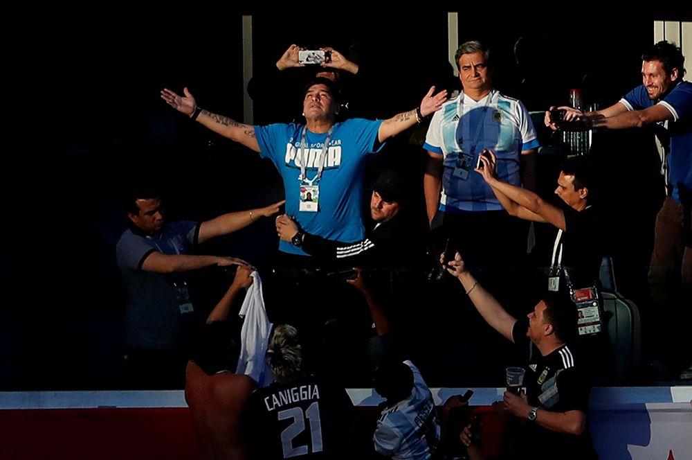 Марадона на чемпионате мира по футболу в России 2018 года.