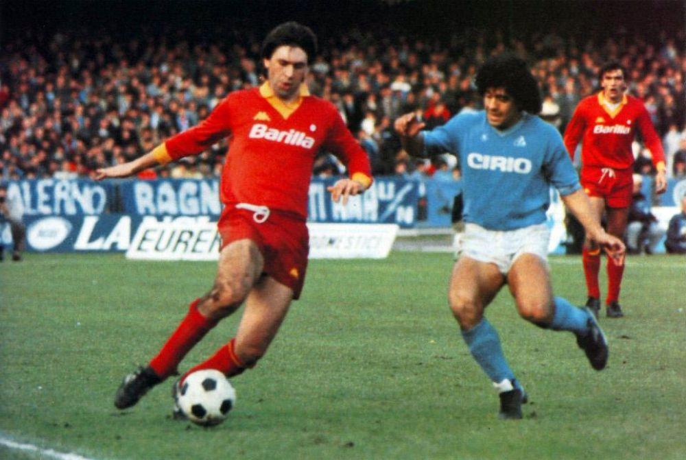 Марадона и Анчелотти в матче «Наполи-Рома», 1984 год.