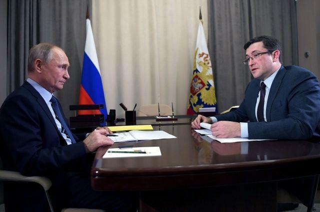 Владимир Путин в Сарове провел рабочую встречу с Глебом Никитиным