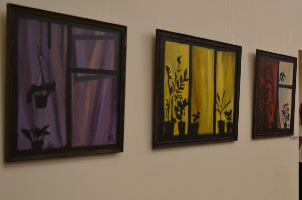 Наталия Селивёрстова «Фиолетовое, жёлтое, красное окно».
