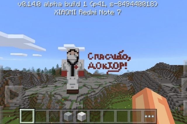 Тюменские школьницы создали в Minecraft скульптуру врача