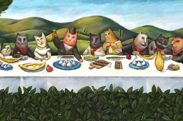 Символ нового грузинского ресторана в парке Маяковского – добрый усатый кот, символ отличного аппетита, домашнего тепла и уюта.