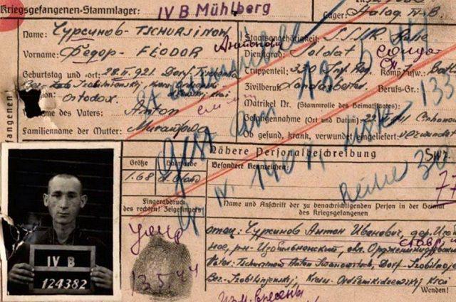 Фотокопия учётной карточки военнопленного немецкого лагеря №326 Фёдора Чурсинова