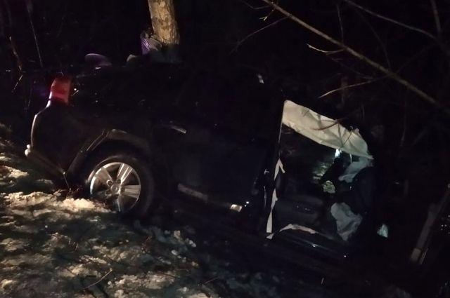 Водитель погиб, пассажир получил тяжёлые травмы.