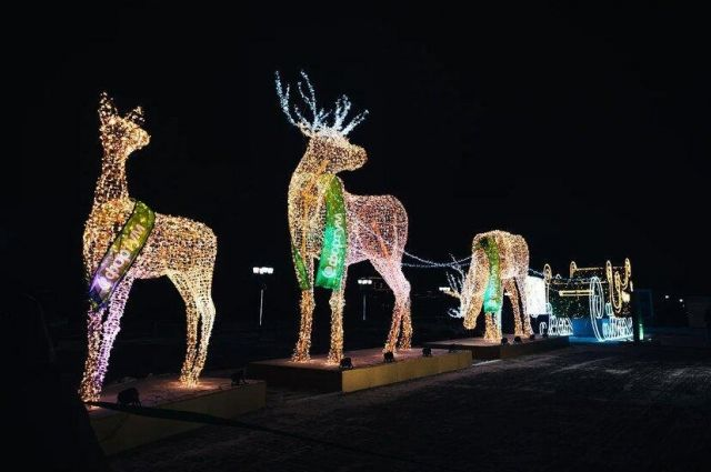 В Тюмени установили огромных светящихся оленей на набережной