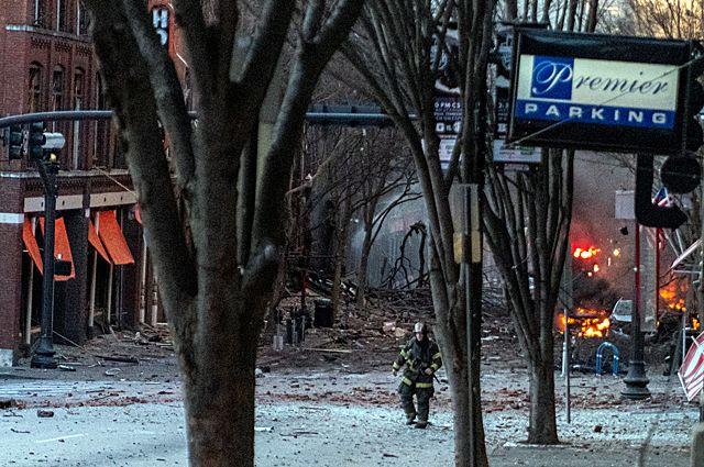 Место взрыва автомобиля в Нэшвилле.