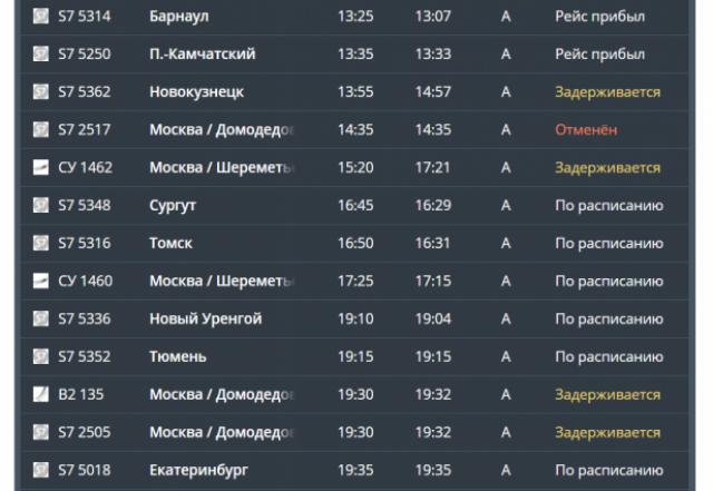 Три рейса из Москвы в Новосибирск задерживаются, один рейс из Домодедово отменен.