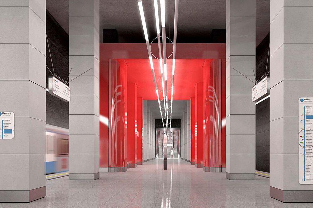 «Мневники». Будет расположена в северной части Мневниковской поймы. В облицовке станции используют материалы, имитирующие бетон.