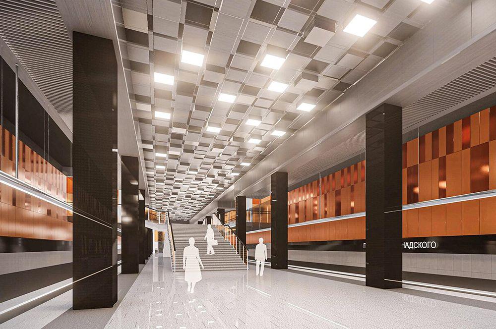 «Проспект Вернадского». Здесь будет организована пересадка на одноименную станцию Сокольнической линии. Оформлена станция будет в стиле хай-тек.