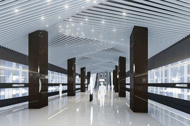 «Аминьевская». Станцию строят рядом с Аминьевским шоссе. Ее интегрируют с одноименной строящейся станцией Киевского направления МЖД.