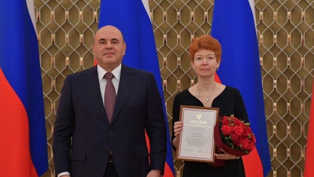 Михаил Мишустин с редактором «АиФ» Юлией Шигаревой.