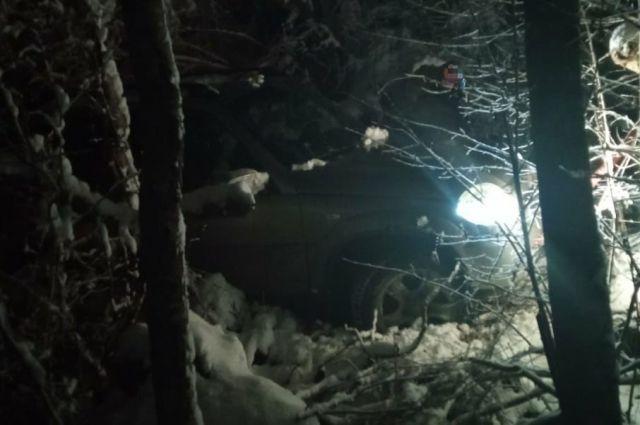 Автомобиль застрял в лесу.
