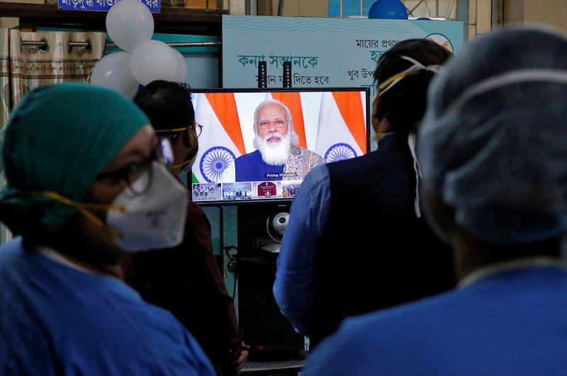 Премьер-министр Нарендра Моди дает старт кампании по вакцинации против COVID-19.