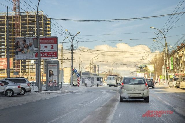 Дороги Новосибирска опустели из-за 35-градусных морозов.