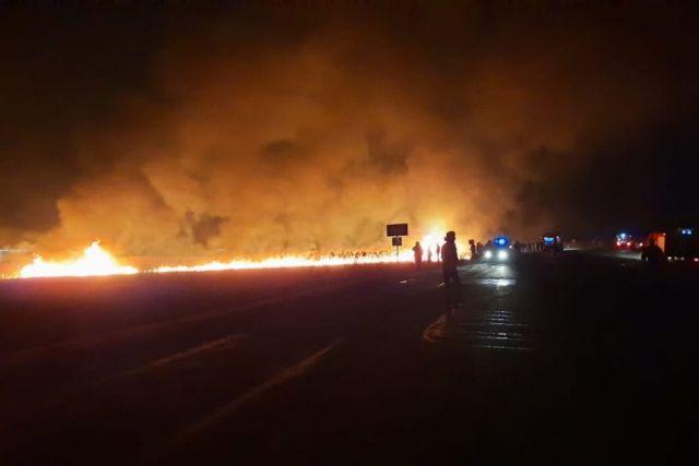В Анапе потушили крупный пожар в плавнях