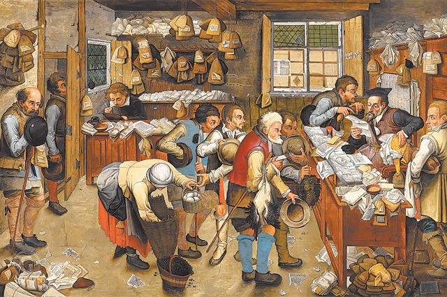«Уплата десятины». Картина Питера Брейгеля Младшего, 1622г. Десятую часть своего дохода население всредневековой Европе платило впользу папы римского.