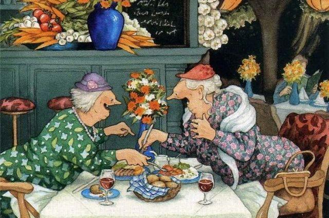 Серия открыток «Веселые старушки» финской художницы Инге Лёёк (Inge Löök, настоящее имя Ingeborg Lievonen), выполненная ею для Красного Креста.