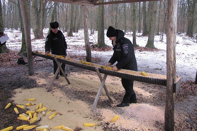 Сотрудники Экоохотнадзора готовят обед для диких животных.