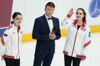 Евгения Медведева, Алексей Ягудин и Алина Загитова на Кубке Первого канала по фигурному катанию.
