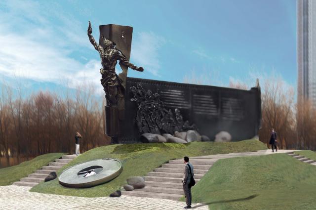 Художественной концепцией памятника является скульптура по мотивам известной фотографии фронтового корреспондента Макса Альперта «Комбат».