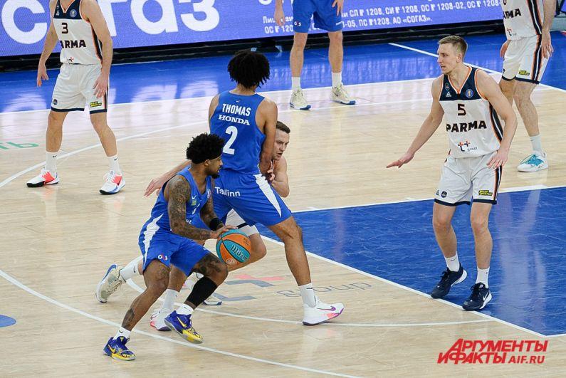 Баскетбольный матч «Парма» - «Калев» в Перми.